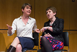 © Licensed to London News Pictures. 19/03/2015. London, UK. UKIP member, Shadow Home Secretary, Yvette Cooper and  Leader of the House of Lords, Baroness Tina Stowell disagreeing at the Pink News LGBT election debate held at the Welcome Collection in central London. Photo credit : Vickie Flores/LNP