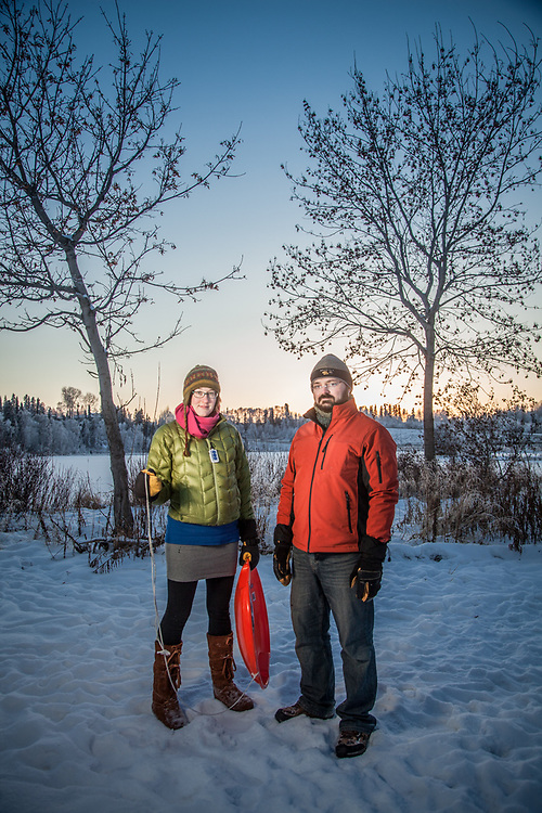 "Geologists Danielle Best and Travis Atwood at Margaret Sullivan Park, Anchorage.  best.danie@gmail.com  ""We arrived in Anchorage from Honolulu in August.""  ""Do you miss Hawaii?""  ""Sure, we miss some things but we love it here…Anchorage is a much more livable city."""