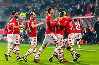ALKMAAR - 25-01-2017, AZ - sc Heerenveen, AFAS Stadion, 1-0, blijdschap na de 1-0 van AZ speler Derrick Luckassen (r), AZ speler Alireza Jahanbakhsh (l), AZ speler Rens van Eijden (l2v), AZ speler Wout Weghorst (m), AZ speler Ridgeciano Haps, AZ speler Dabney dos Santos Souza.
