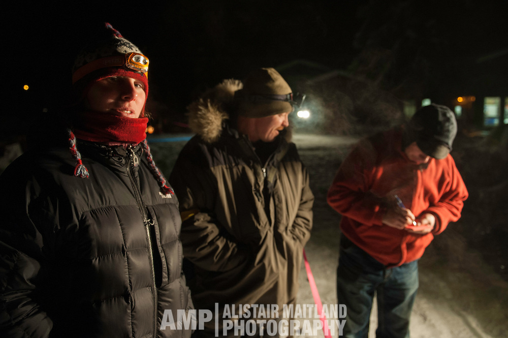 Dyan Bergen's handlers waiting for their musher to arrive.