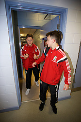BALLYMENA, NORTHERN IRELAND - Thursday, November 20, 2014: Wales' xxxx and xxxx leave the dressing room after beating Northern Ireland 2-0 during the Under-16's Victory Shield International match at the Ballymena Showgrounds. (Pic by David Rawcliffe/Propaganda)