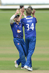 Craig Miles of Gloucestershire celebrates with Chris Dent after bowling out Alex Barrow of Somerset for 17 - Mandatory byline: Dougie Allward/JMP - 07966386802 - 02/08/2015 - Cricket - County Ground -Bristol,England - Gloucestershire CCC v Somerset CCC - Royal London One-Day Cup