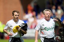 BIRKENHEAD, ENGLAND - Saturday, July 12, 2008: Liverpool's fitness coach Paco De Miguel and assistant manager Sammy Lee during his side's first pre-season match of the 2008/2009 season against Tranmere Rovers at Prenton Park. (Photo by David Rawcliffe/Propaganda)