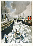 New York Harbour brought to a standstill by ice. From 'Le Petit Journal', Paris, 4 March 1901.
