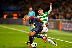 PARIS, Nov. 23, 2017  Kylian Mbappe (L) of Paris Saint-Germain competes with Callum McGregor of Celtic FC during the Group B match of 2017-18 UEFA Champions League in Paris, France on Nov. 22, 2017. Paris Saint-Germain won 7-1 at home. (Credit Image: © Chen Yichen/Xinhua via ZUMA Wire)