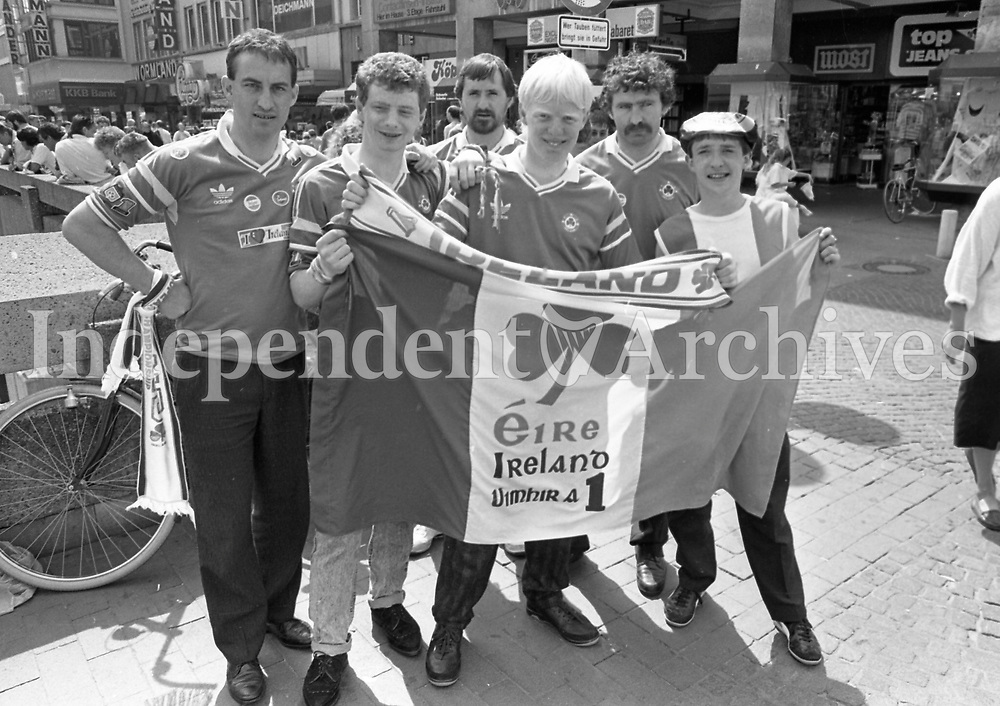 Irish fans at the Ireland v Soviet Union game in the 1988 European Finals, played in Hanover. Picture Jim O'Kelly (Staff) 15th June 1988. (Part of the Independent Newspapers Ireland/NLI Collection).