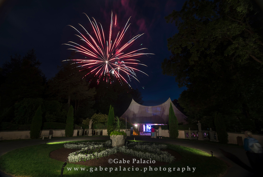 Fireworks above the Venetian Theater at Caramoor in Katonah New York on July 2, 2016 for the Pops, Patriots, &amp; Fireworks, An Independence Day Celebration. <br /> (photo by Gabe Palacio)