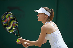LONDON, ENGLAND - Sunday, July 3, 2011: Martina Hingis (SUI) in action during the Ladies' Invitation Doubles Final match on day thirteen of the Wimbledon Lawn Tennis Championships at the All England Lawn Tennis and Croquet Club. (Pic by David Rawcliffe/Propaganda)