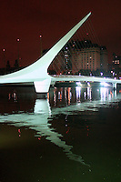 "The Puente de la Mujer (Spanish for ""Woman's Bridge""), designed by Santiago Calatrava, is a footbridge in the Puerto Madero district of Buenos Aires, Argentina."