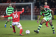 Forest Green Rovers Isaiah Osbourne(34) passes the ball during the EFL Sky Bet League 2 match between Crewe Alexandra and Forest Green Rovers at Alexandra Stadium, Crewe, England on 20 March 2018. Picture by Shane Healey.