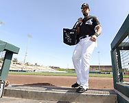 GLENDALE, ARIZONA - FEBRUARY 26:  Jose Abreu #79 of the Chicago White Sox enters the dugout  prior to the game against the Kansas City Royals on February 26, 2019 at Camelback Ranch in Glendale Arizona.  (Photo by Ron Vesely)  Subject:  Jose Abreu