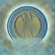 Digitally enhanced image of a Gold and silver Two Euro coin (Germany)