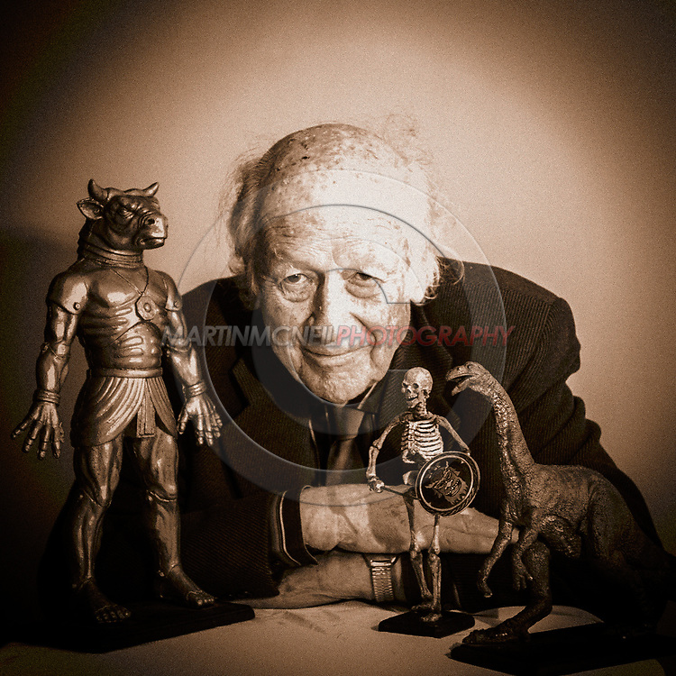 "EDINBURGH, SCOTLAND, JUNE 25, 2008: Special effects pioneer Ray Harryhausen attends a photocall ahead of an ""In Coversation"" event inside Cineworld cinema in Edinburgh."