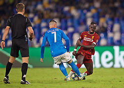 NAPLES, ITALY - Tuesday, September 17, 2019: Liverpool's Sadio Mane (R) and SSC Napoli's José Callejón during the UEFA Champions League Group E match between SSC Napoli and Liverpool FC at the Studio San Paolo. (Pic by David Rawcliffe/Propaganda)
