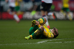 Emi Buendia of Norwich City in pain after a tackle - Mandatory by-line: Jack Phillips/JMP - 16/02/2019 - FOOTBALL - University of Bolton Stadium - Bolton, England - Bolton Wanderers v Norwich City - English Football League Championship