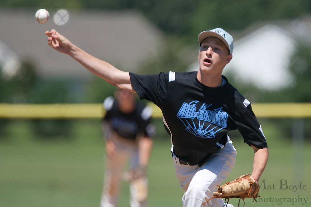 Pennsylvania's Collin Herrow pitches in the 1st inning during the winner take all final of the Eastern Regional Senior League tournament between Pennsylvania and Maryland held in West Deptford on Thursday, August 11.