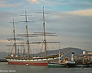 Balclutha, a Square Rigged Freighter built in 1886 near Glasgow Scotland and Eppleton Hall Steal Paddle Wheel Tug built in England in 1914 at the San Francisco Maritime Park