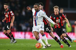 Jason Puncheon of Crystal Palace holds back Adam Smith of Bournemouth - Mandatory by-line: Jason Brown/JMP - Mobile 07966 386802 26/12/2015 - SPORT - FOOTBALL - Bournemouth, Vitality Stadium - AFC Bournemouth v Crystal Palace - Barclays Premier League