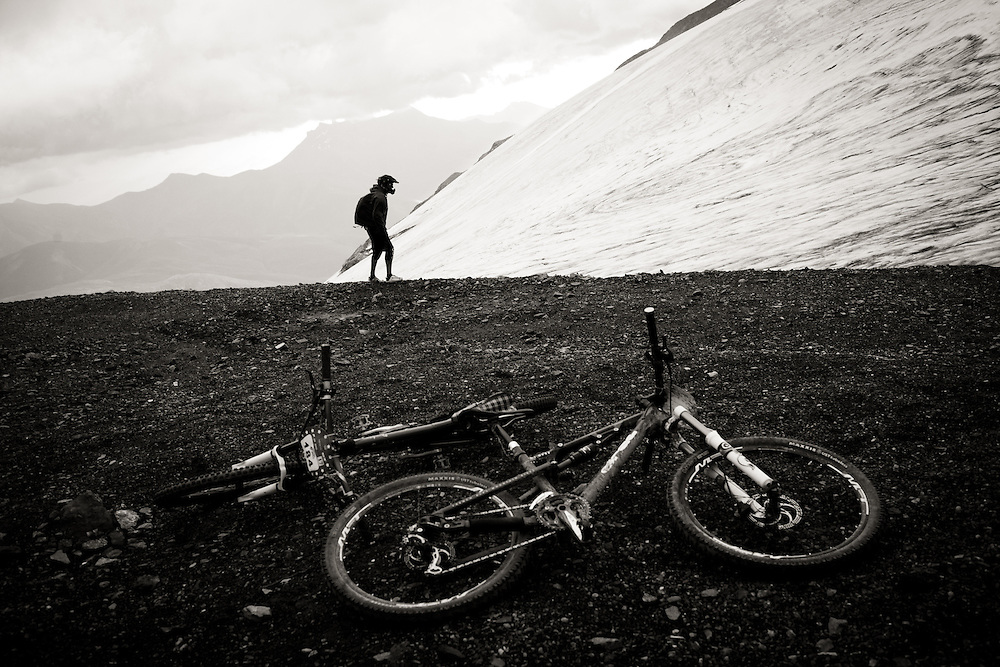 A rider inspects the course during the infamous Mountain of Hell race, held in Les Deux Alpes, France.