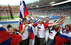 Fans of Primoz Kozmus of Slovenia winning the men's Hammer Throw Final during day three of the 12th IAAF World Athletics Championships at the Olympic Stadium on August 17, 2009 in Berlin, Germany. (Photo by Vid Ponikvar / Sportida)