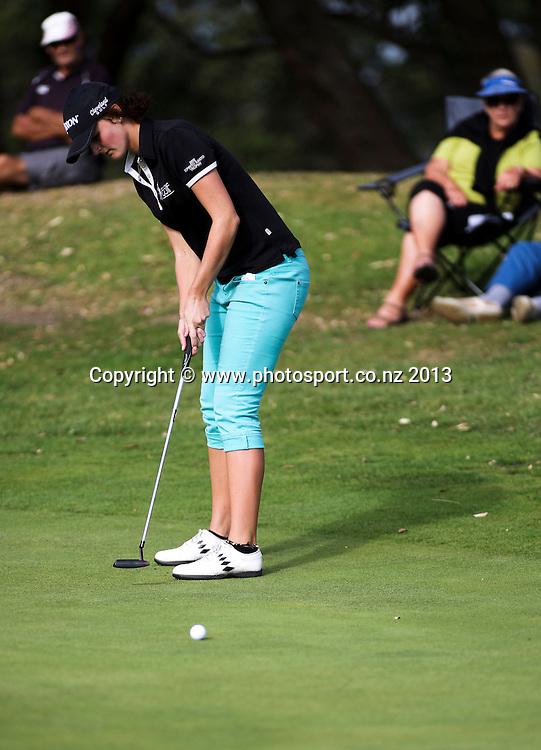 Emily Perry on the final day of the Taranaki Energy Open, New Plymouth Golf Club, New Zealand. Sunday 14 April, 2013. Photo: John Cowpland / photosport.co.nz
