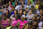 Houston ISD Nutrition Services staff participate in a welcome back at Barnett Field House, August 18, 2014.