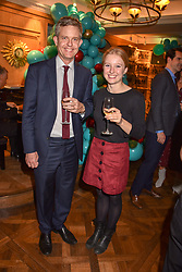 George Weston chief executive of Associated British Foods and his daughter Sally Weston at the launch of the Fortnum & Mason Christmas & Other Winter Feasts Cook Book by Tom Parker Bowles held at Fortnum & Mason, 181 Piccadilly, London, England. 17 October 2018.