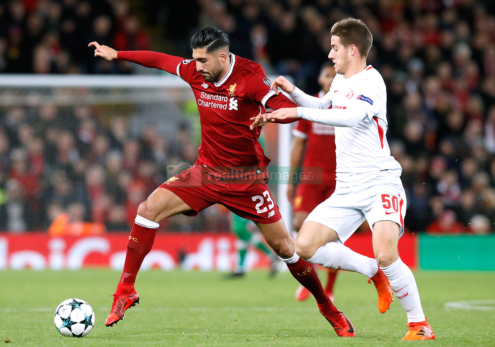 Liverpool's Emre Can and Spartak Moscow's Mario Pasalic battle for the ball