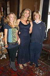 LADY LIZA CAMPBELL and her children STORM ATHILL and ATTICUS ATHILL at a party to celebrate the publication of Title Deeds by Liza Campbell at the First Floor, 186 Portobello Road, London on 14th June 2006.<br />