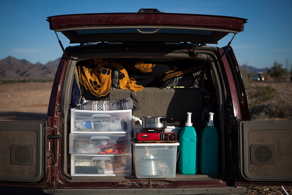 "Author LaVonne Ellis's ""kitchen"" in her van while camping in the desert outside Eherenberg, Arizona."