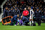 Concern for Blackburn Rovers goalkeeper David Raya (1) as he is treated for a broken nose during the EFL Sky Bet Championship match between West Bromwich Albion and Blackburn Rovers at The Hawthorns, West Bromwich, England on 27 October 2018.