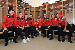 Connor poses for a photo with some first team players from the Bristol City squad.<br /> <br /> From L to R:<br /> Bristol City Goalkeeper, Dave Richards, George Saville, Luke Freeman, Greg Cunningham, Connor, Wade Elliott,  Aaron Wilbraham, James Tavernier and Bristol City's Korey Smith<br /> <br />  - Photo mandatory by-line: Dougie Allward/JMP - Mobile: 07966 386802 - 01/04/2015 - SPORT - Football - Bristol - Bristol City Training Ground - HR Owen and SAM FM - Live like a footballer for a day