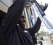 Christian Nade lifts the trophy on the City Chambers balcony - Dundee FC civic reception at Dundee City Chambers<br /> <br />  - &copy; David Young - www.davidyoungphoto.co.uk - email: davidyoungphoto@gmail.com
