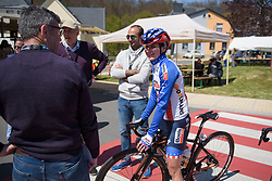 Megan Guarnier seems happy to be back racing at Stage 1 of Festival Elsy Jacobs 2017. A 97.7 km road race on April 28th 2017, starting and finishing in Steinfort, Luxembourg. (Photo by Sean Robinson/Velofocus)
