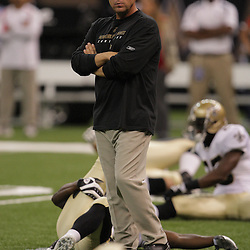 2008 August 16: New Orleans Saints Head Coach Sean Payton looks on as the team stretches prior to a preseason match up against the Houston Texans at the Louisiana Superdome in New Orleans, LA. .