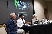 Davida Amenta, right, laughs during the Cap Times Idea Fest 2018 at the Pyle Center in Madison, Wisconsin, Saturday, Sept. 29, 2018.