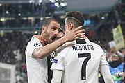 Cristiano Ronaldo of Juventus celebrates his goal during the Champions League match between Juventus FC and Ajax at Juventus Stadium, Turin, Italy on 16 April 2019.