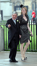 29 April 2011. London, England..Royal wedding day. Speaker of the House (Uk Parliament) John Bercow and wife Sally arriving at the ceremony..Photo; Charlie Varley.