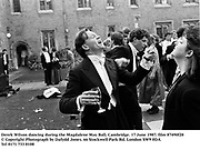 Derek Wilson dancing during the Magdalene May Ball, Cambridge. 17 June 1987. film 87490f28<br />