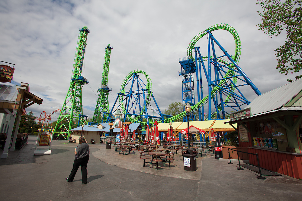 """The new """"Goliath"""" roller coaster at Six Flags New England in Agawam Mass., is shown on Thursday May 10, 2012.  (Photo by Matthew Cavanaugh)"""
