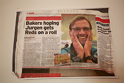 LIVERPOOL, ENGLAND - Thursday, November 26, 2015: A cutting from the Liverpool Echo newspaper about a community bakery selling Klopp pies. (Pic by David Rawcliffe/Propaganda)