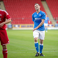 SPFL Development League...St Johnstone v Aberdeen..01.10.14<br /> New St Johnstone signing James McFadden reacts afte his shot is saved by the Dons keeper<br /> Picture by Graeme Hart.<br /> Copyright Perthshire Picture Agency<br /> Tel: 01738 623350  Mobile: 07990 594431