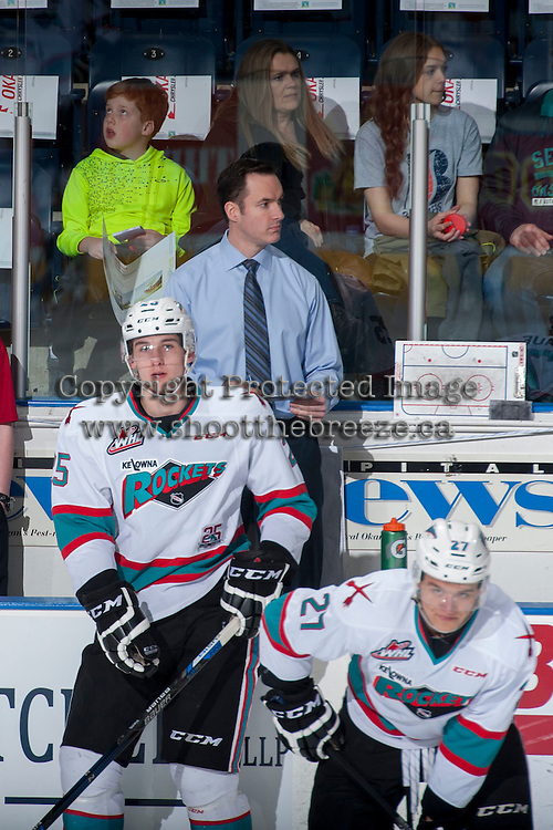KELOWNA, CANADA - MARCH 25:  Head coach Brad Ralph of Kelowna Rockets stands on the bench during warm up against the Kamloops Blazers on March 25, 2016 at Prospera Place in Kelowna, British Columbia, Canada.  (Photo by Marissa Baecker/Shoot the Breeze)  *** Local Caption *** Brad Ralph