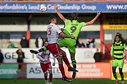 Forest Green Rovers Christian Doidge(9) has his shirt pulled by Stevenage Defender, Joe Martin (3) during the EFL Sky Bet League 2 match between Stevenage and Forest Green Rovers at the Lamex Stadium, Stevenage, England on 21 October 2017. Photo by Adam Rivers.