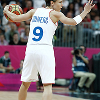 30 July 2012: Celine Dumerc of France calls a play during the 74-70 Team France overtime victory over Team Australia, during the women's basketball preliminary, at the Basketball Arena, in London, Great Britain.