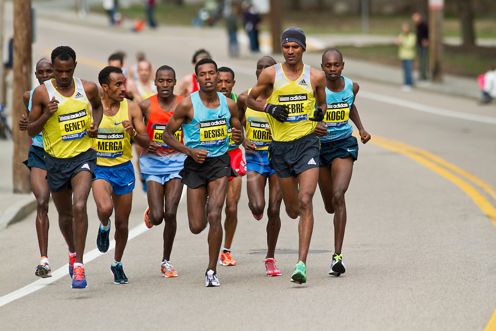 2013 Boston Marathon: lead group of elite men surge, led by Lelisa Desisa