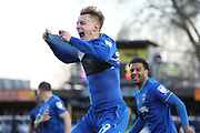 AFC Wimbledon striker Joe Pigott (39) celebrating after scoring goal to make it 1-0 during the EFL Sky Bet League 1 match between AFC Wimbledon and Bristol Rovers at the Cherry Red Records Stadium, Kingston, England on 17 February 2018. Picture by Matthew Redman.