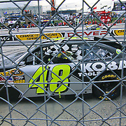 Jimmie Johnson #48 wins the Sprint Cup race at Dover International Speedway in Dover Delaware.