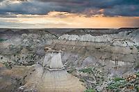 Sunset over badlands formations, Makoshika State Park Montana