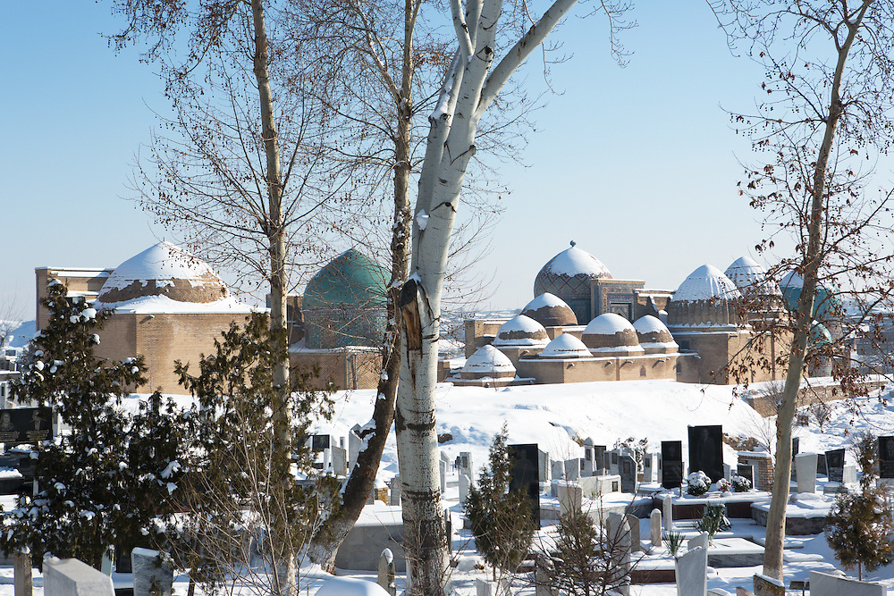 Snow on the Silk Road: Shah-i-Zinda necropolis and surrounding graveyard, Samarkand. Feb 5-6, 2014 saw a rare sustained snowy period in Samarkand, Uzbekistan, breaking record lows and resulting in school closures and power outages